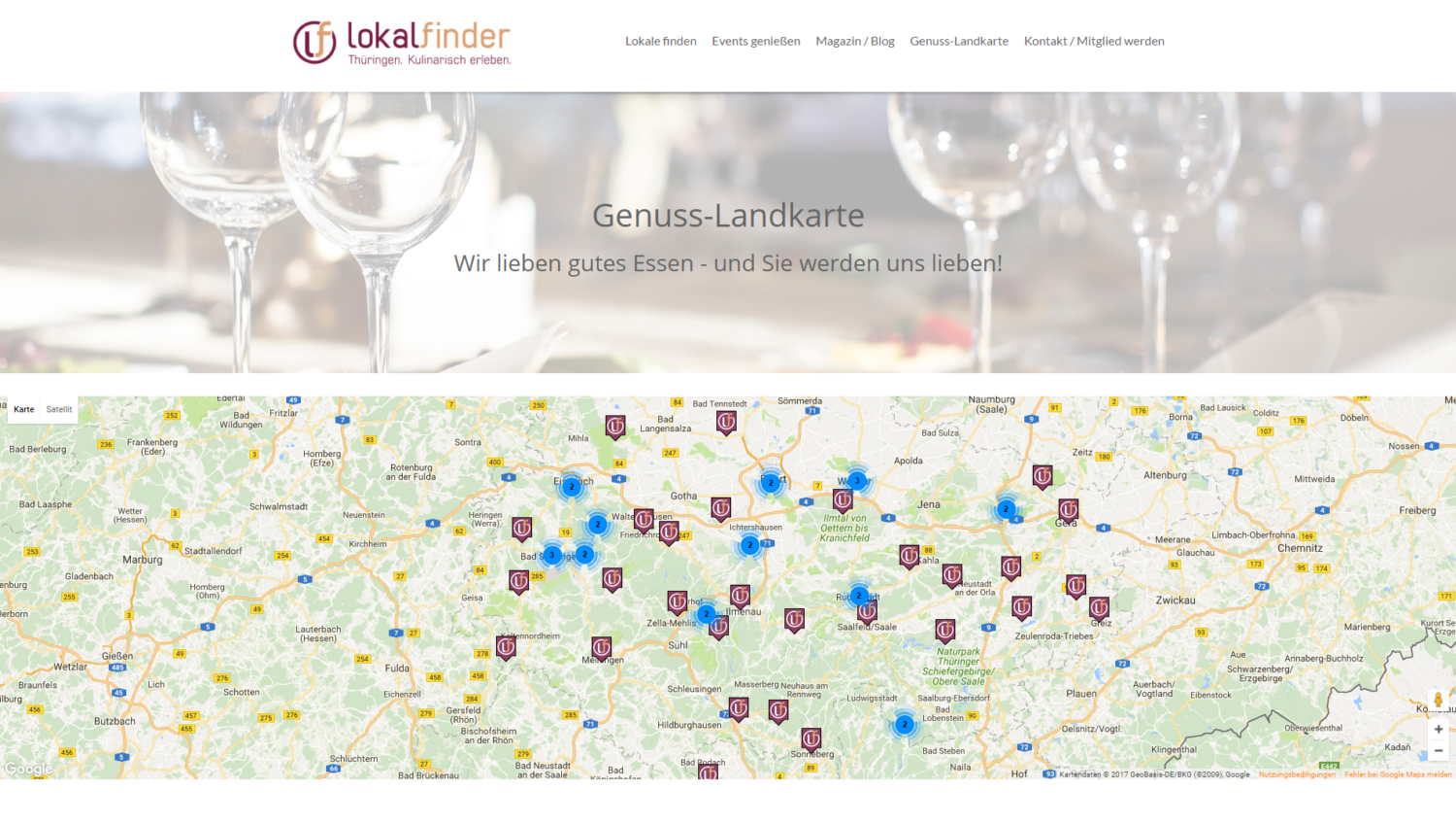 Screenshot der Webseite https://www.lokalfinder-thueringen.de