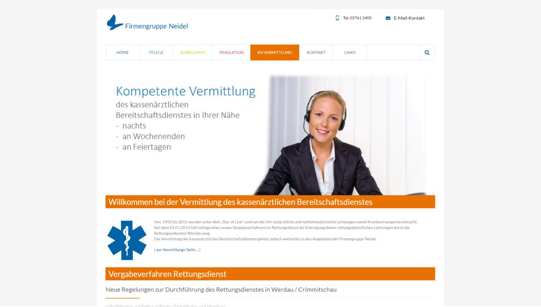 Screenshot der Webseite http://www.notfallmedizin-sachsen.de/