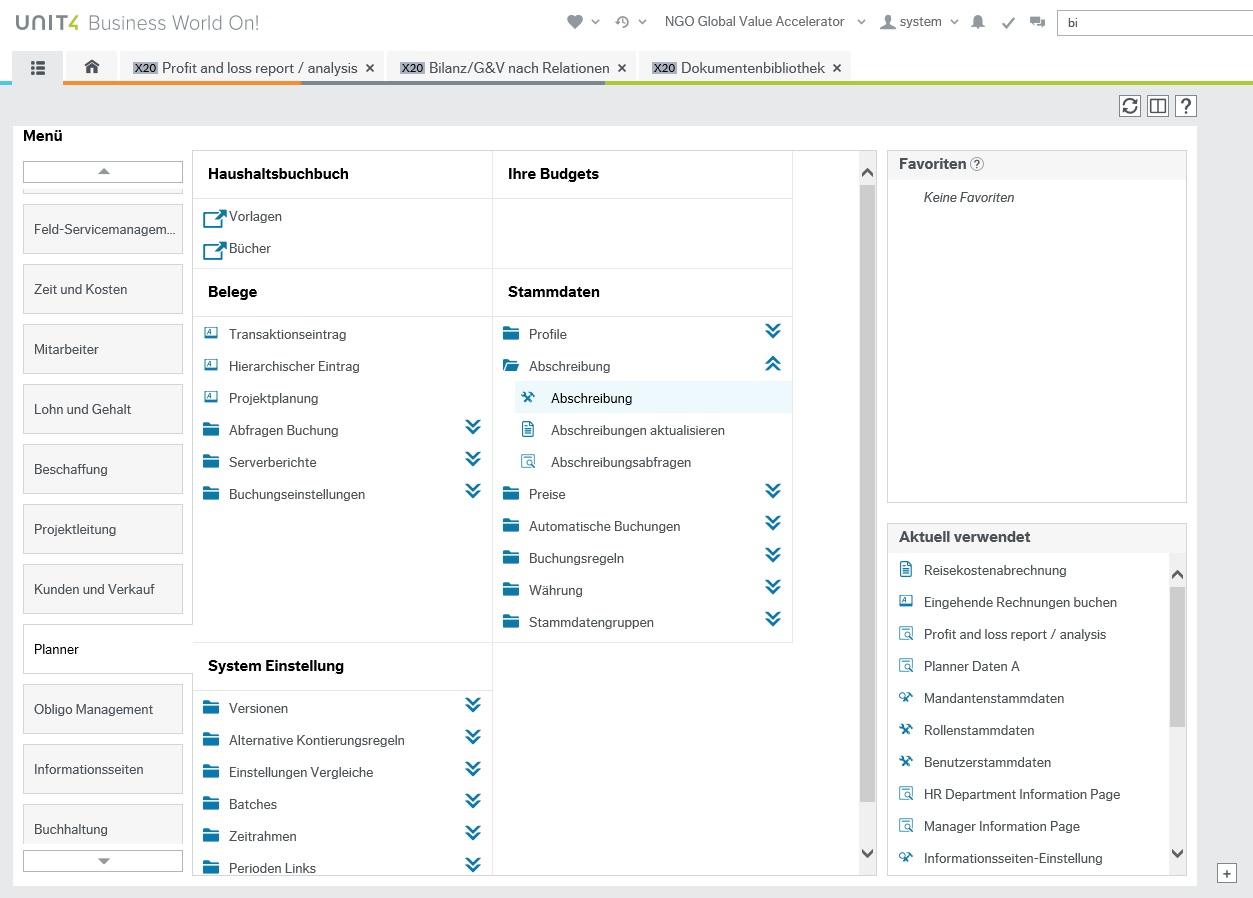 Planner-Übersicht im Hauptmenü des ERP-System