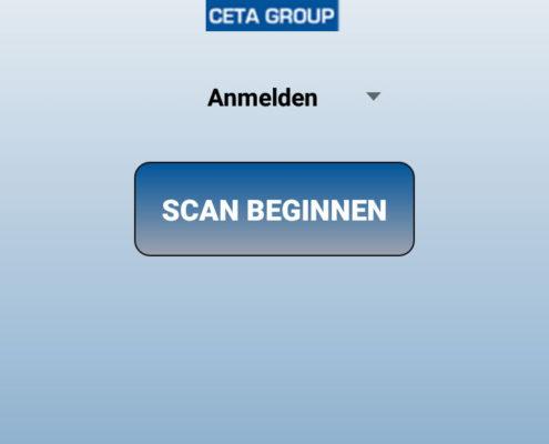 Der Startbildschirm der CETA App