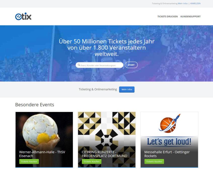 Die Webseite von etix.com