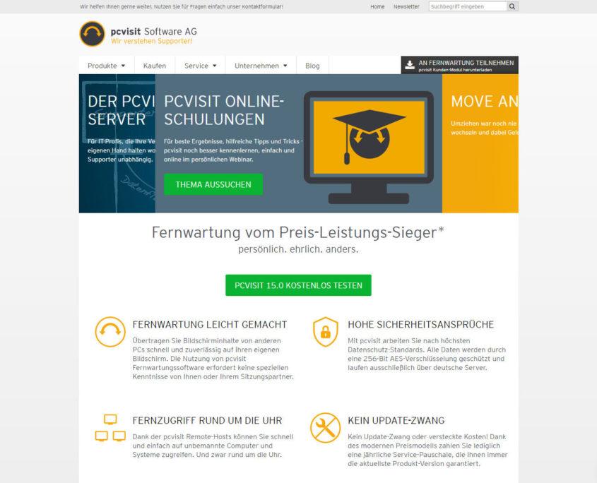 Die Webseite der pcvisit Software AG