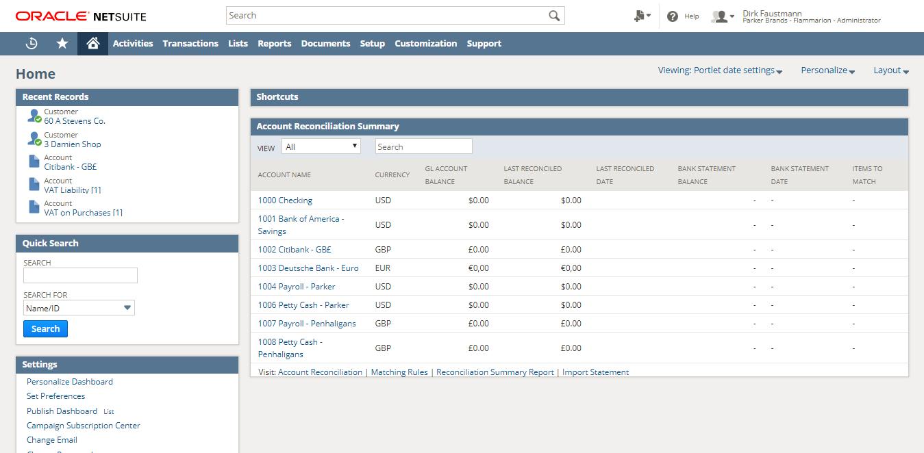 Startseite der Software von Oracle NetSuite